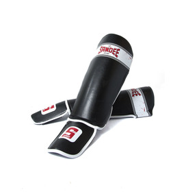 Sandee Sport Black & White Synthetic Leather Boot Shinpads
