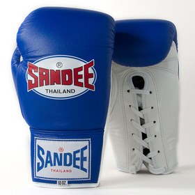 Sandee Blue Lace Up Leather Boxing Gloves