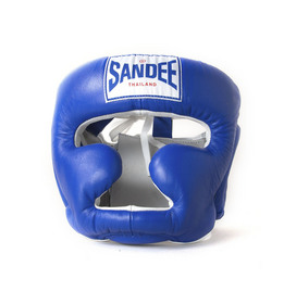 Sandee Closed Face Head Guard Blue & White