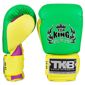 Top King Double Lock Air Boxing Gloves Green, Purple & Yellow