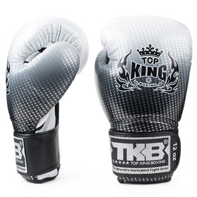 Top King Super Star Silver Velcro Boxing Gloves