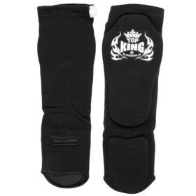 Top King Elastic Competition Shin Pads Black