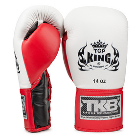 Top King Pro Lace Up Boxing Gloves Black/White/Red