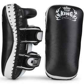 Top King Super Curved Thai Kick Pads Black & White