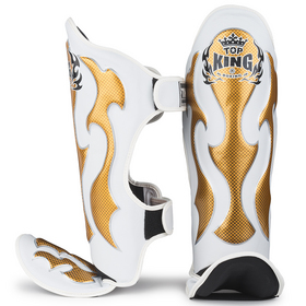 Top King Empower Creativity Shin Pads White & Gold