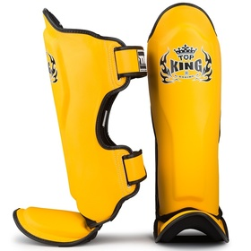 Top King Pro Semi-Leather Shin Pads Yellow & Black