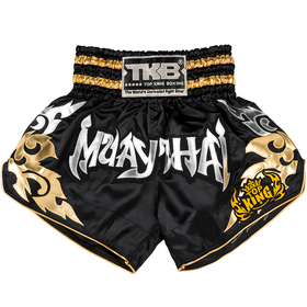 Top King Muay Thai Shorts Black, Silver & Gold