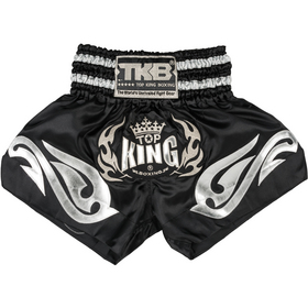 Top King Muay Thai Shorts Black & Silver