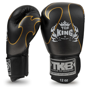 Top King Empower Velcro Boxing Gloves Black & Silver