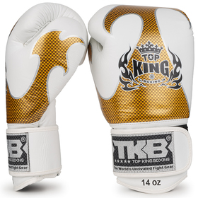 Top King Empower Creativity Velcro Boxing Gloves White & Gold