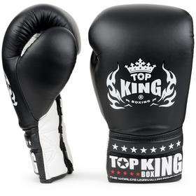 Top King Super Comp Lace Up Boxing Gloves Black & White