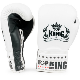 Top King Super Comp Lace Up Boxing Gloves White & Black
