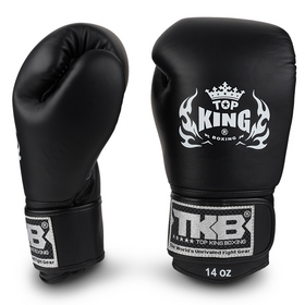 Top King Ultimate Velcro Boxing Gloves Black