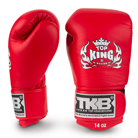 Top King Ultimate Velcro Boxing Gloves Red