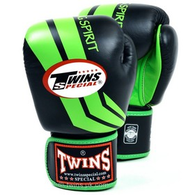 Twins Fighting Spirit Green & Black Velcro Boxing Gloves