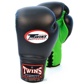 Twins Black & Green Lace-up Sparring Boxing Gloves