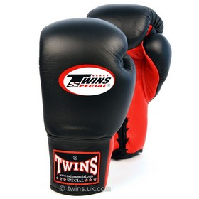 Twins Black & Red Lace-up Sparring Boxing Gloves