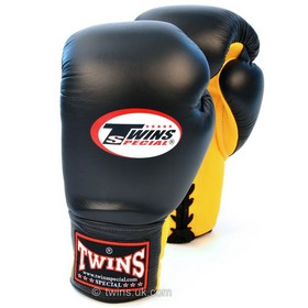 Twins Black & Yellow Lace-up Sparring Boxing Gloves