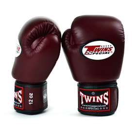 Twins Pro Velcro Boxing Gloves Burgundy