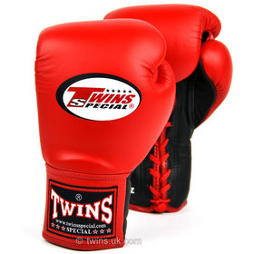 Twins Pro Fight Lace-up Boxing Gloves Red Black