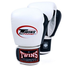 Twins Two Tone White & Black Velcro Boxing Gloves