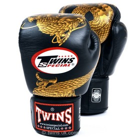 Twins Velcro Boxing Gloves Dragon Black & Gold