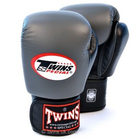 Twins Two Tone Velcro Boxing Gloves Grey & Black