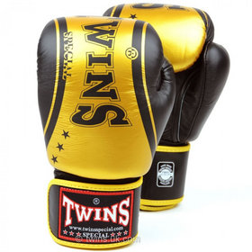 Twins Classic Black & Gold Velcro Boxing Gloves