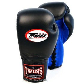 Twins Black & Blue Lace-up Sparring Boxing Gloves