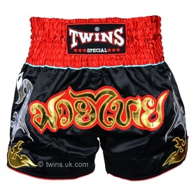 Twins Satin Muay Thai Shorts Black & Red