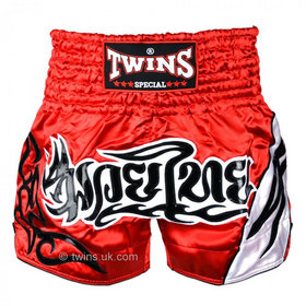 Twins Satin Muay Thai Shorts Red & White