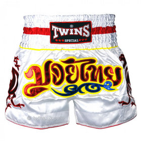 Twins Satin Muay Thai Shorts White & Red