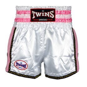 Twins Retro Satin Muay Thai Shorts Plain White-Pink
