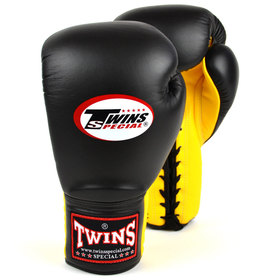 Twins Lace-up Sparring Gloves Black-Yellow