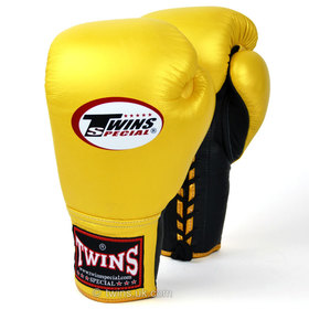 Twins Lace-up Sparring Gloves Gold-Black