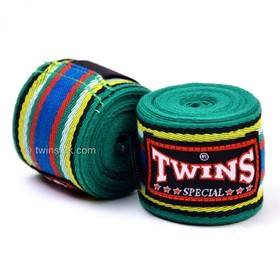 Twins 5m Cotton Hand Wraps Green