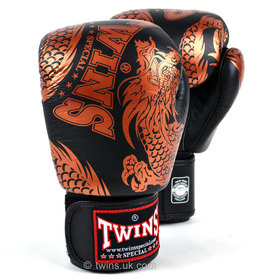 Twins Velcro Boxing Gloves Black-Bronze Flying Dragon