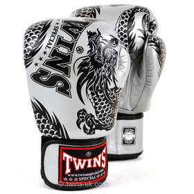 Twins Velcro Boxing Gloves Silver-Black Flying Dragon