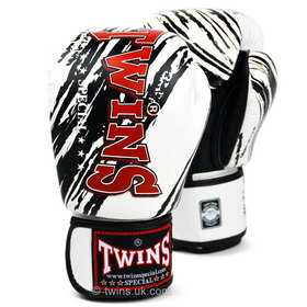 Twins Velcro Boxing Gloves White-Black Claw