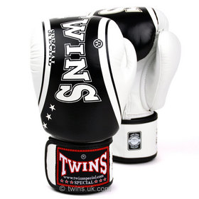 Twins Velcro Boxing Gloves Classic White-Black