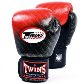 Twins Colour Fade Red & Black Velcro Boxing Gloves