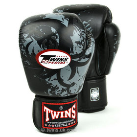 Twins Velcro Boxing Gloves Black Tribal Dragon