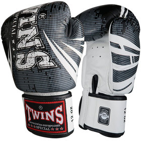 Twins Velcro Boxing Gloves Black-White