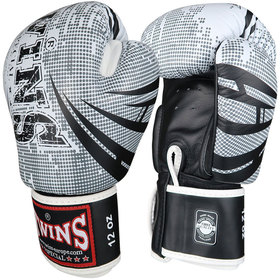 Twins Velcro Boxing Gloves White-Black