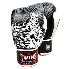 Twins Velcro Boxing Gloves White Wolf