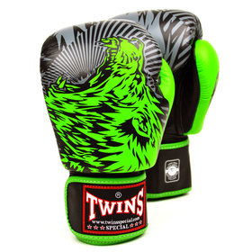Twins Velcro Boxing Gloves Green Wolf