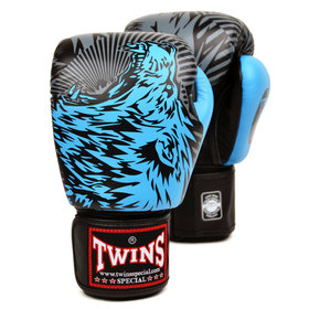 Twins Velcro Boxing Gloves Sky Blue Wolf