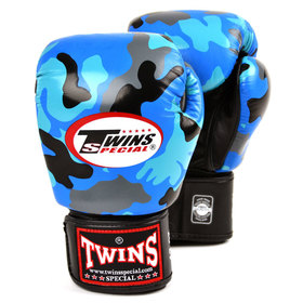 Twins Velcro Boxing Gloves Blue Camo