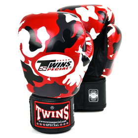 Twins Velcro Boxing Gloves Red Camo