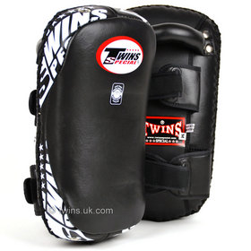 Twins Curved Leather Thai Kick Pads Black